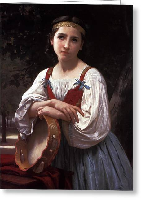 Young Lady Greeting Cards - Gypsy Girl with a Basque Drum Greeting Card by William Bouguereau