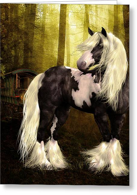 Gypsy Vanner Horse Greeting Cards - Gypsy Gold Greeting Card by Shanina Conway