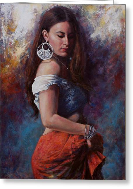 Long Skirt Greeting Cards - Gypsy Greeting Card by Harvie Brown