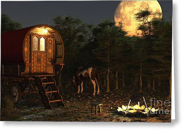 Gypsy Greeting Cards - Gypsy Wagon in the Moonlight Greeting Card by Fairy Fantasies