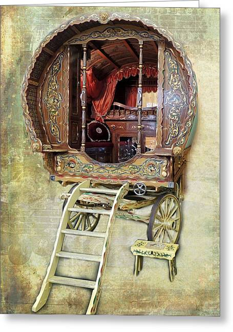 Gypsy Greeting Cards - Gypsy Wagon Greeting Card by Mim White