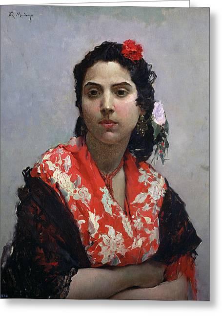 Shawl Greeting Cards - Gypsy Woman Greeting Card by Raimundo de Madrazo y Garetta