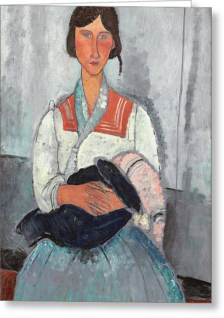 Sailor Greeting Cards - Gypsy Woman With Baby, 1919 Oil On Canvas Greeting Card by Amedeo Modigliani
