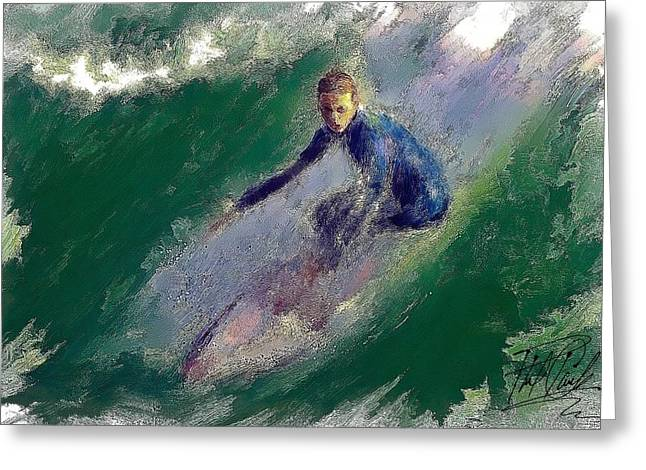Surfer Art Greeting Cards - H B Surfer II Greeting Card by Phil Clark
