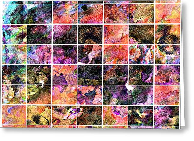 Tiled Tapestries - Textiles Greeting Cards - Tiled Watercolor Blocks with Texture 3 Greeting Card by Barbara Griffin