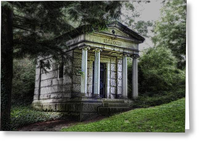 Grave Greeting Cards - H C Ford Mausoleum Greeting Card by Tom Mc Nemar