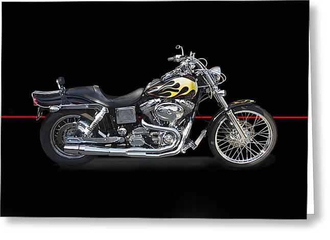 Classic Saddle Greeting Cards - H D Dyna Twin Studio Greeting Card by Dave Koontz