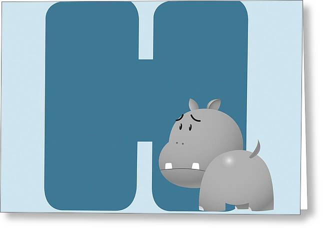 Hippopotamus Digital Greeting Cards - H Greeting Card by Gina Dsgn