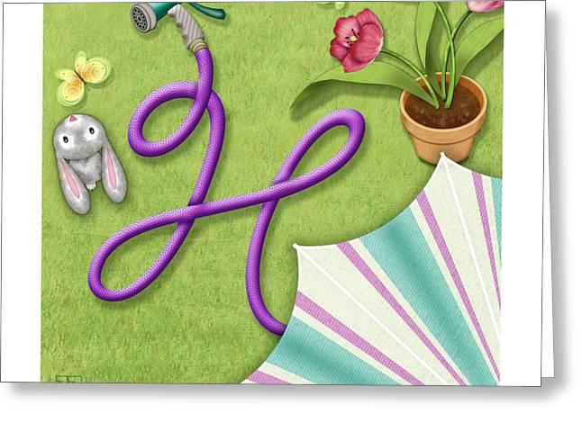 Garden Scene Mixed Media Greeting Cards - H is for Garden Hose  Greeting Card by Valerie   Drake Lesiak