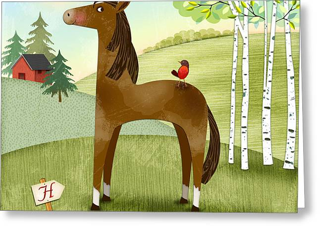 Valerie Lesiak Greeting Cards - H is for Henry the Horse Greeting Card by Valerie   Drake Lesiak