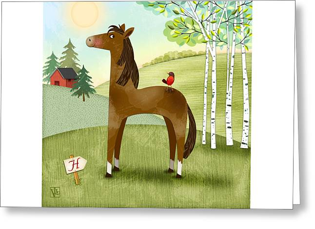 Illustrated Letter Greeting Cards - H is for Henry the Horse Greeting Card by Valerie   Drake Lesiak