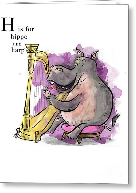 Hippos Greeting Cards - H is for Hippo Greeting Card by Sean Hagan