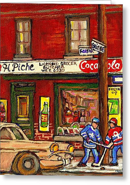 H. Piche Grocery - Goosevillage -paintings Of Montreal History- Neighborhood Boys Play Street Hockey Greeting Card by Carole Spandau