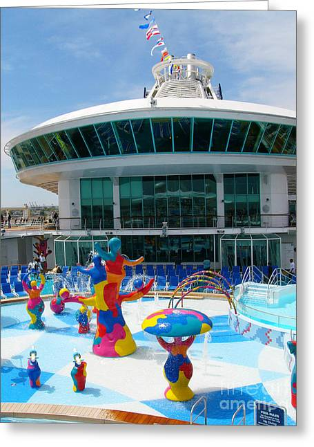 Pool Deck Greeting Cards - H20 Zone on Liberty of the Seas cruise ship. Greeting Card by Amy Cicconi