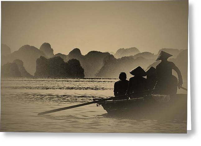 Silhoette Greeting Cards - Ha Long Bay Greeting Card by Jose Carlos Fernandes