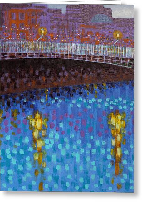 Cobalt Blues Greeting Cards - Ha Penny Bridge Dublin  cropped 1 Greeting Card by John  Nolan