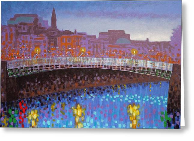 Cobalt Blues Greeting Cards - Ha Penny Bridge Dublin  cropped Greeting Card by John  Nolan