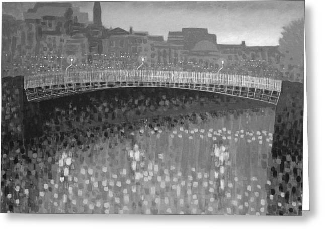 Cobalt Blues Greeting Cards - Ha Penny Bridge Dublin  grey scale Greeting Card by John  Nolan
