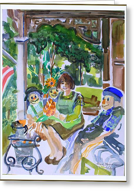 Scarecrow Greeting Cards - Ha Penny Lady Greeting Card by Mindy Newman