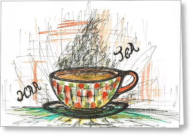 Help Others Greeting Cards - Haa cup of Tea Greeting Card by Teresa White
