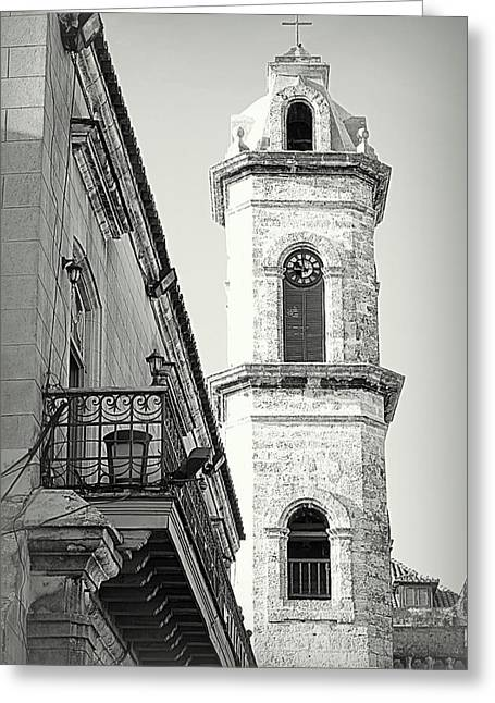 Popular Beliefs Greeting Cards - Habana Clock Tower Greeting Card by Valentino Visentini