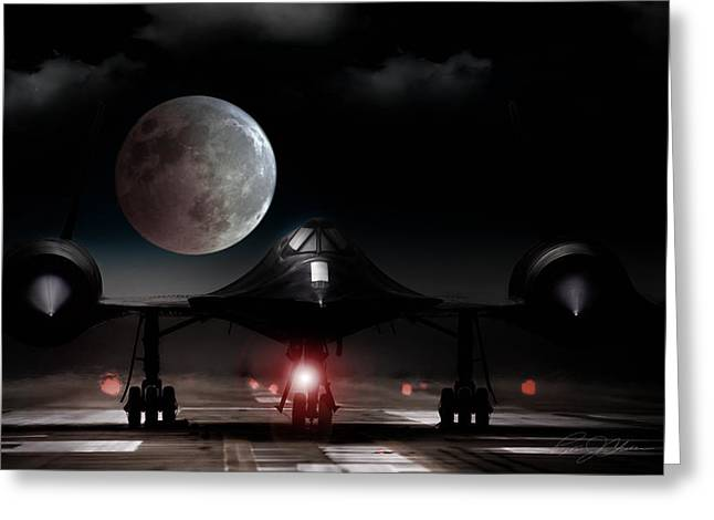 Takeoff Greeting Cards - Habu Moon Rise Greeting Card by Peter Chilelli