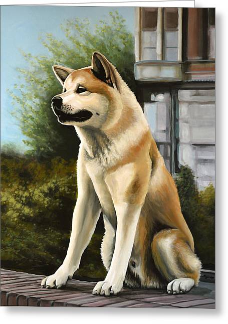 Husky Art Greeting Cards - Hachi Greeting Card by Paul  Meijering