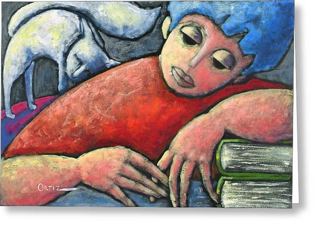 Homework Paintings Greeting Cards - Haciendo tareas en mi cuarto Greeting Card by Oscar Ortiz