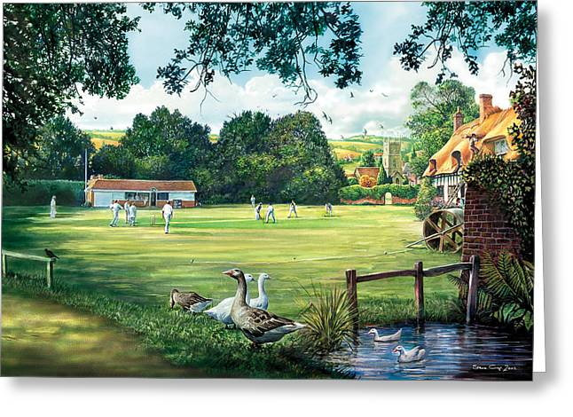 Crisp Greeting Cards - Hadlow Cricket Club Greeting Card by Steve Crisp