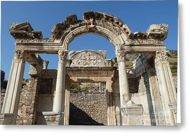 Library Of Celsus Greeting Cards - Hadrian Temple Greeting Card by Zori Minkova