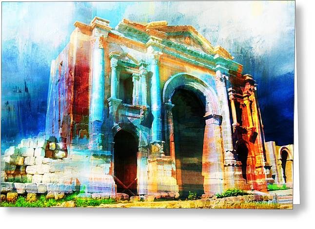 Hadrians Arch Greeting Card by Catf