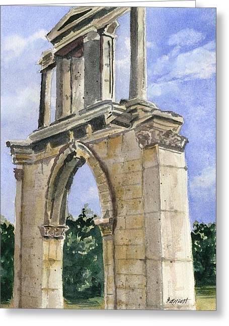 Arch Greeting Cards - Hadrians Arch Greeting Card by Marsha Elliott