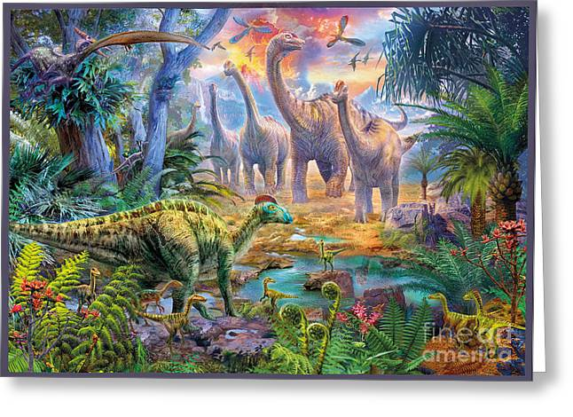 T-rex Greeting Cards - Hadrosaurus Sauropod Greeting Card by MGL Meiklejohn Graphics Licensing