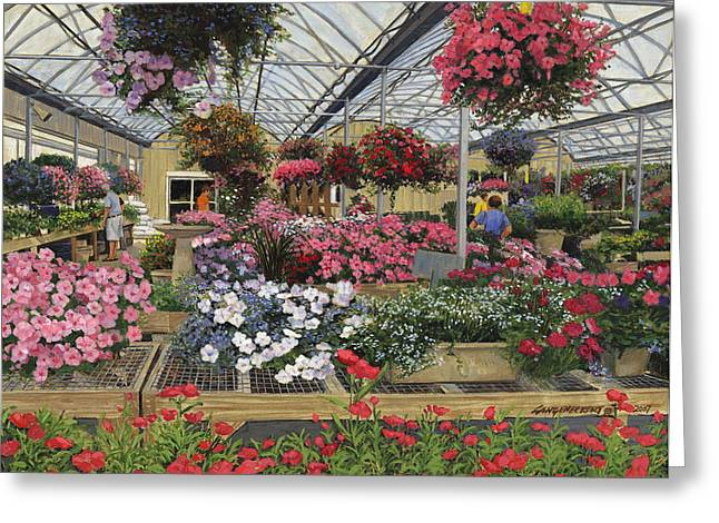 St Louis Missouri Greeting Cards - Spring Flowers Haefners Garden Center Hanging Baskets Greeting Card by Don  Langeneckert