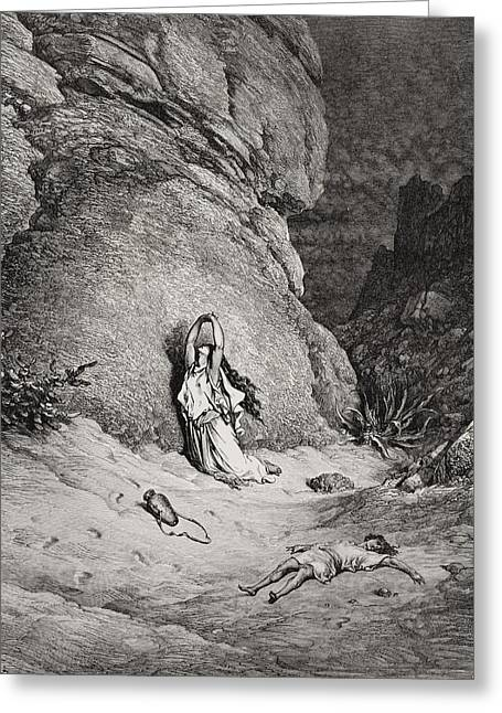 Desert Drawings Greeting Cards - Hagar and Ishmael in the Desert Greeting Card by Gustave Dore