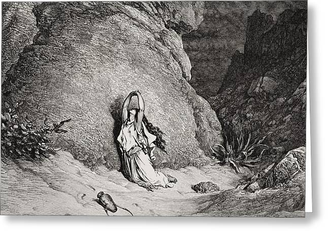 Hagar and Ishmael in the Desert Greeting Card by Gustave Dore