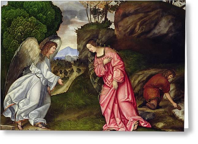 Agar Greeting Cards - Hagar And The Angel Oil On Canvas Greeting Card by Girolamo da Treviso II