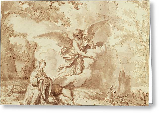Archangel Greeting Cards - Hagar In The Wilderness Drawing Greeting Card by Adriaen van de Velde