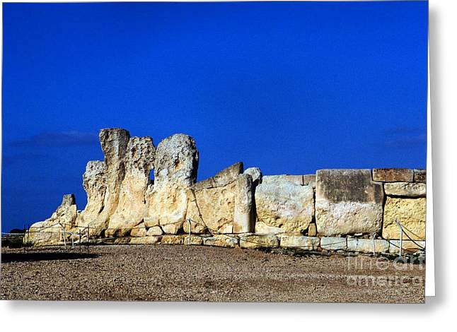 Ancient Ruins Greeting Cards - Hagar Qim Stone Temple, Malta Greeting Card by Tim Holt