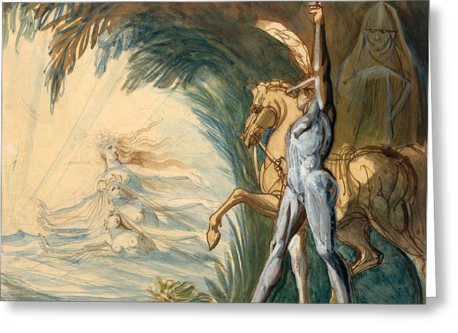 Henry Fuseli Greeting Cards - Hagen and the Nymphs of the Danube Greeting Card by Henry Fuseli