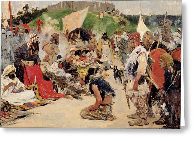 Slaves Greeting Cards - Haggling For Eastern Slaves, 1909 Oil On Canvas Greeting Card by Sergej Vasilevic Ivanov
