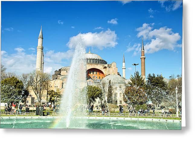 Haghia Sophia Mosque Greeting Cards - Haghia Sophia Fountain 02 Greeting Card by Antony McAulay