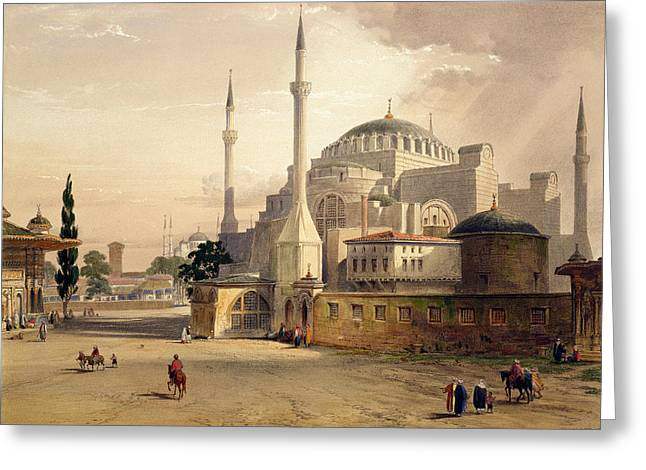 Istanbul Greeting Cards - Haghia Sophia, Plate 17 Exterior View Greeting Card by Gaspard Fossati
