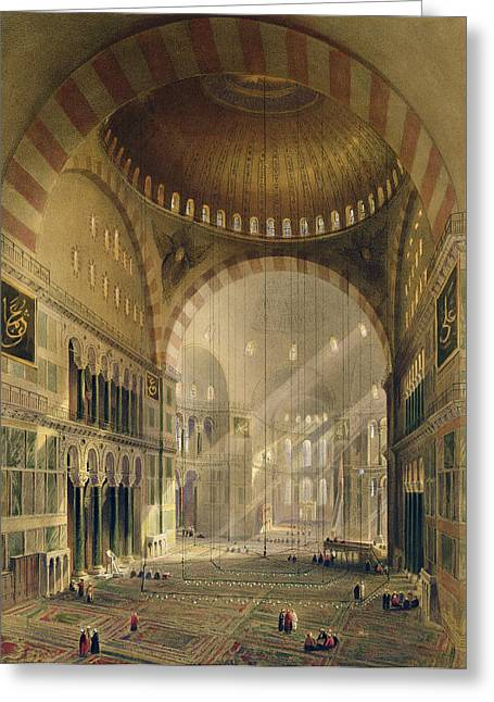 Lighting Greeting Cards - Haghia Sophia, Plate 24 Interior Greeting Card by Gaspard Fossati