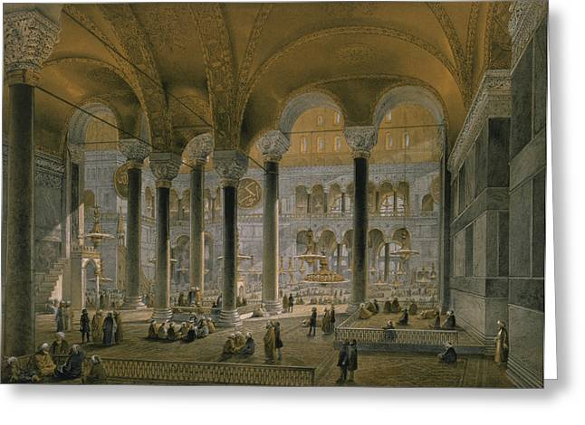 Istanbul Greeting Cards - Haghia Sophia, Plate 6 The North Nave Greeting Card by Gaspard Fossati