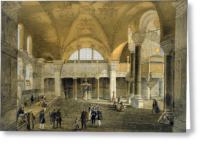 Istanbul Greeting Cards - Haghia Sophia, Plate 9 The New Imperial Greeting Card by Gaspard Fossati