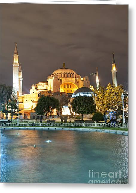 Medieval Temple Greeting Cards - Hagia Sofia at night 01 Greeting Card by Antony McAulay