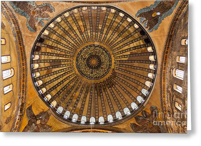 Religious Photographs Greeting Cards - Hagia Sofia ceiling Greeting Card by Antony McAulay