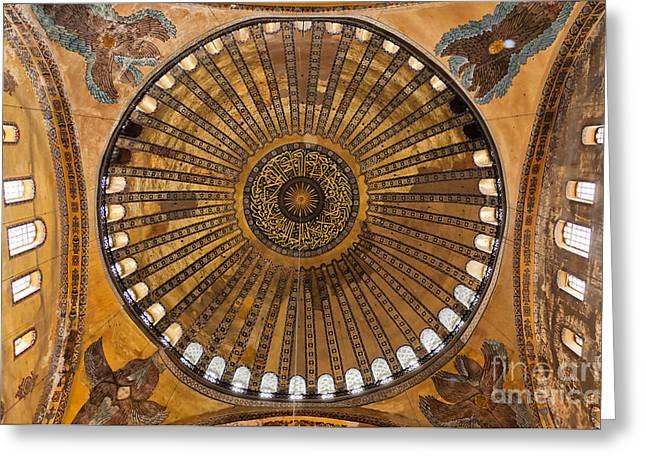 Religious Art Photographs Greeting Cards - Hagia Sofia ceiling Greeting Card by Antony McAulay