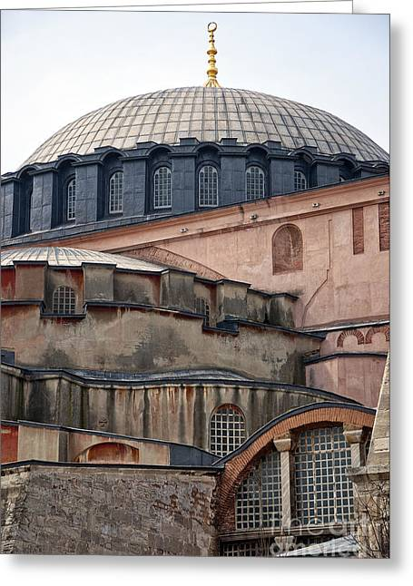 Medieval Temple Greeting Cards - Hagia Sofia close up Greeting Card by Antony McAulay